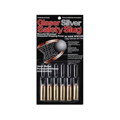 Glaser Silver Safety Slug Ammo 44 Special 135 Grain Safety Slug Ammunition