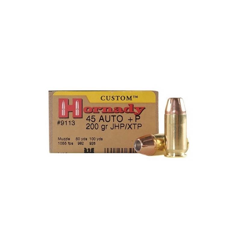 Hornady Custom 45 ACP Auto Ammo +P 200 Grain XTP JHP