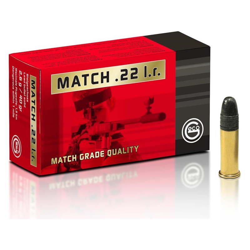 Geco Match 22 Long Rifle Ammo 40 Grain Lead Round Nose