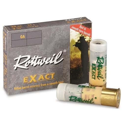 """Rottweil Exact 20 Gauge Ammo 3"""" 15/16 oz Lead Slug"""