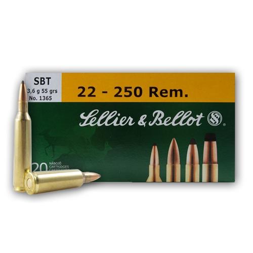 Sellier & Bellot 22-250 Remington Ammo 55 Gr SBT SGK