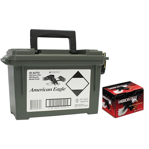 Federal American Eagle 45 ACP Ammo 230 Grain FMJ 300 Rds in Can