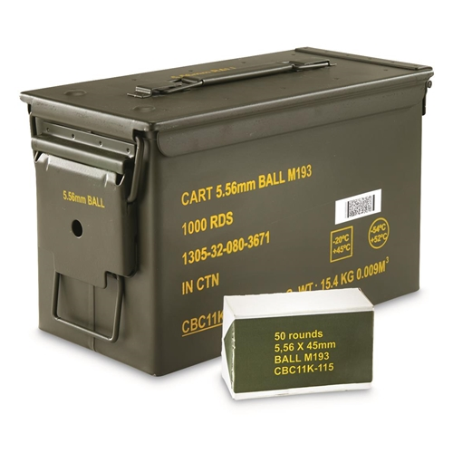 Magtech 5.56mm NATO M193 55 Grain FMJ 1000 Rounds in Ammo Can