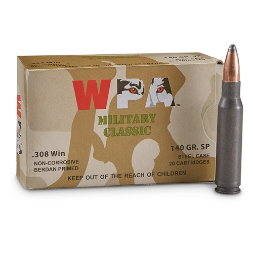 Wolf MC 308 Winchester Ammo 145 Grain SP Steel Case