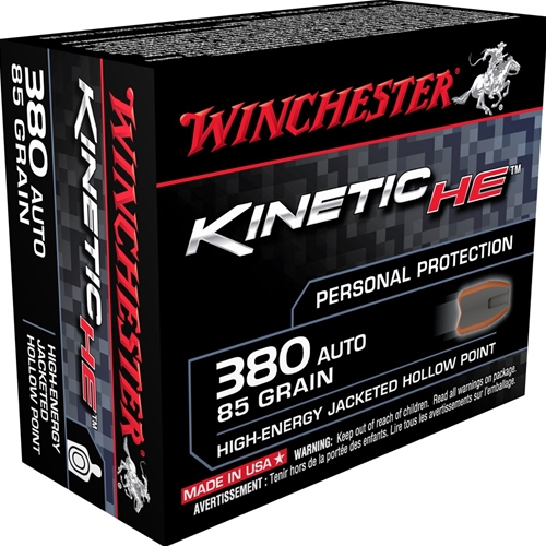 Winchester Kinetic High Energy 380 ACP Auto 85 Grain JHP