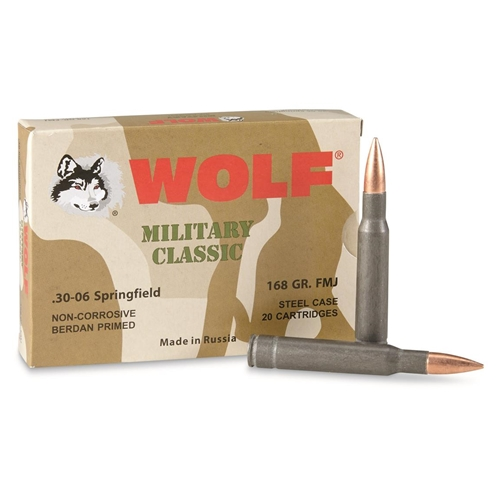 Wolf MC 30-06 Springfield Ammo 168 Grain FMJ Steel Case