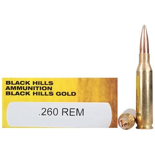 Black Hills Gold 260 Remington Ammo 120 Grain Hornady GMX LF