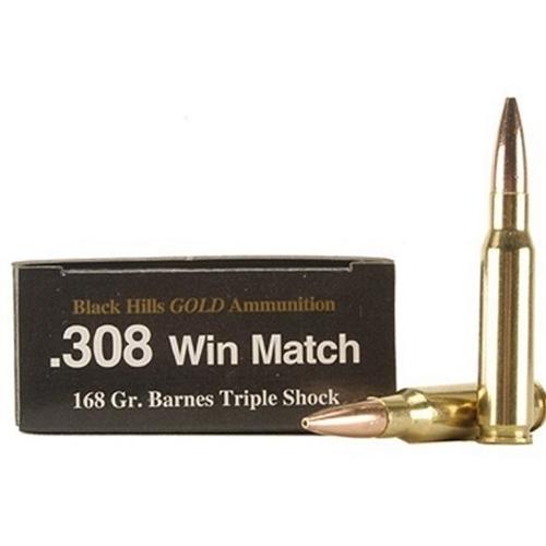 Black Hills Gold 308 Winchester Ammo 168 Grain Barnes TSX HPBT LF