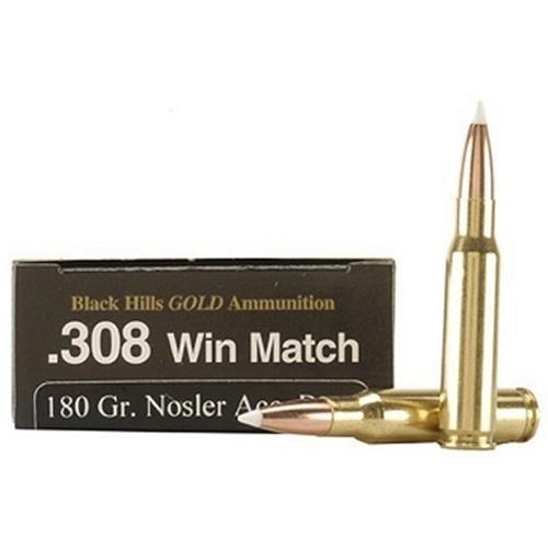Black Hills Gold 308 Winchester Ammo 180 Grain Nosler AccuBond