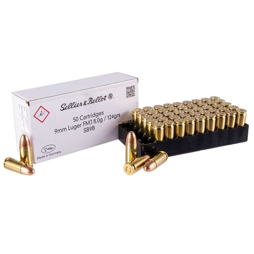 Sellier & Bellot 9mm Luger Ammo 124 Grain FMJ Govt Contract