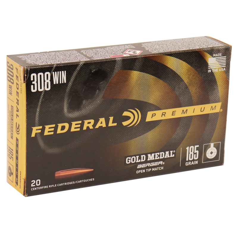 Federal Gold Medal Long-Range 308 Winchester Ammo 185 Grain Berger  Juggernaut Open Tip Match