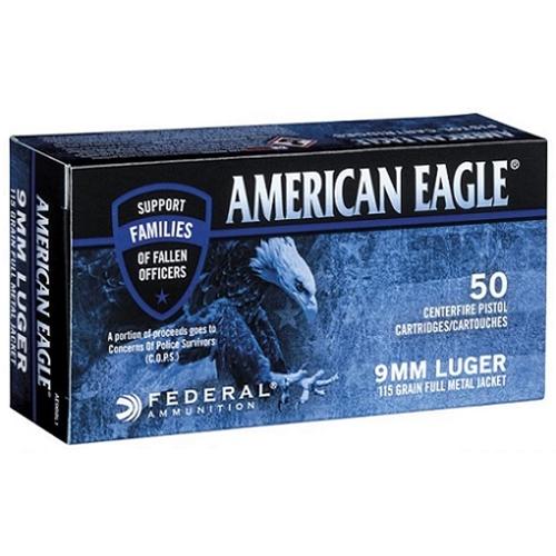 Federal American Eagle C.O.P.S 9mm Luger Ammo 115 Gr Ammo FMJ