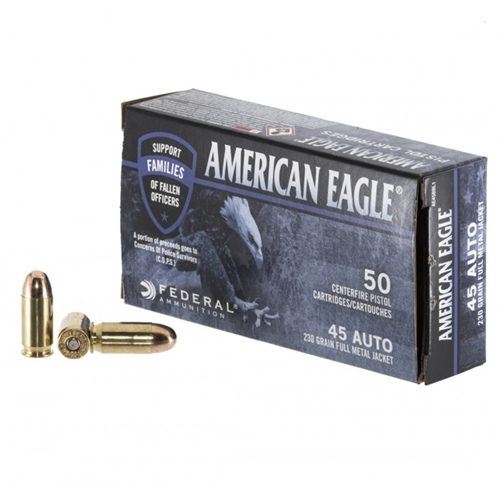 Federal American Eagle C.O.P.S 45 ACP Auto Ammo 230 Grain FMJ
