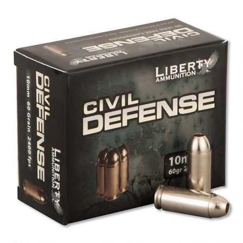 Liberty Civil Defense 10mm Auto Ammo 60 Grain CFHP