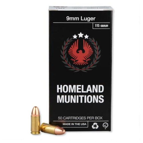 Homeland Munitions 9mm Luger Ammo 115 Grain FMJ