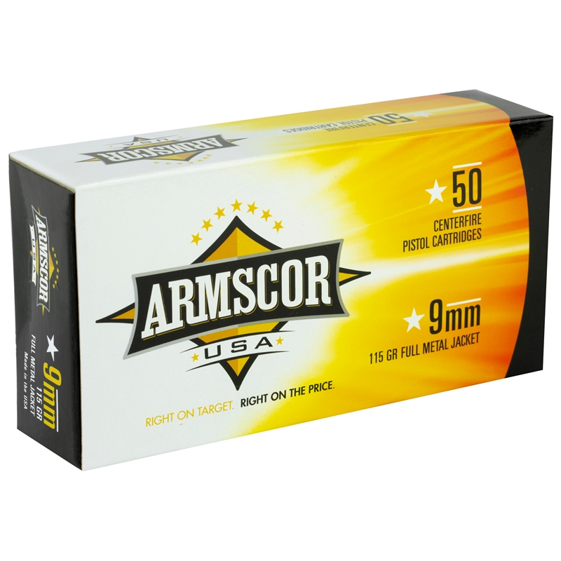 Armscor USA 9mm Luger Ammo 115 Grain Full Metal Jacket