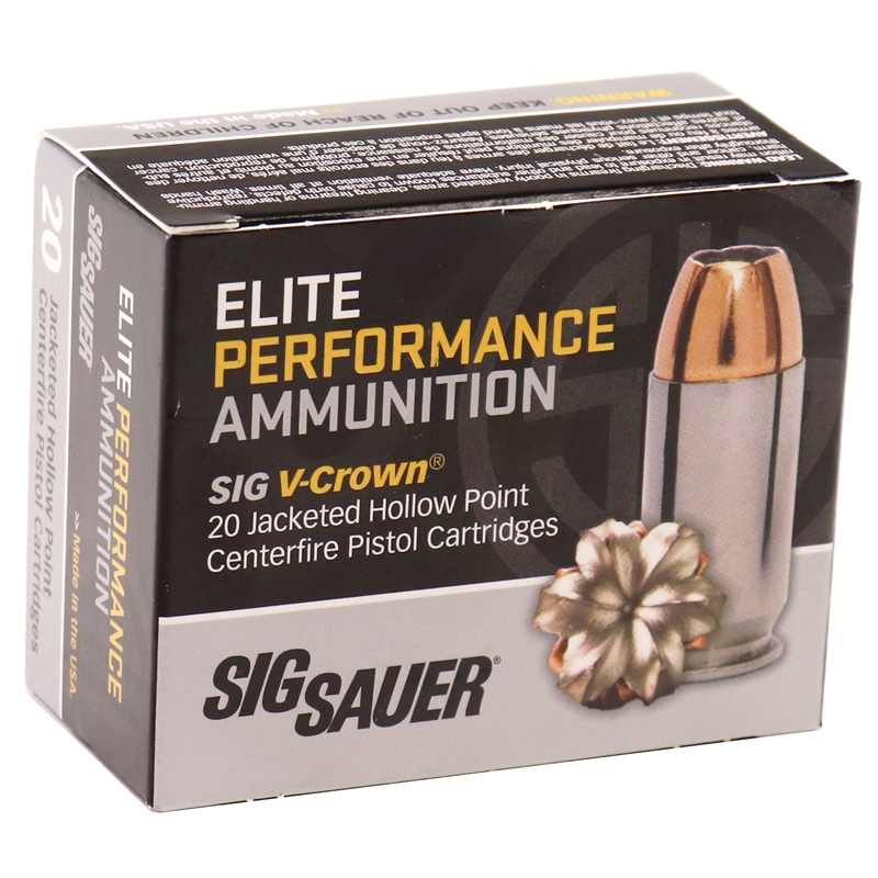 Sig Sauer Elite Performance 45 ACP Auto Ammo 200 Gr V-Crown JHP