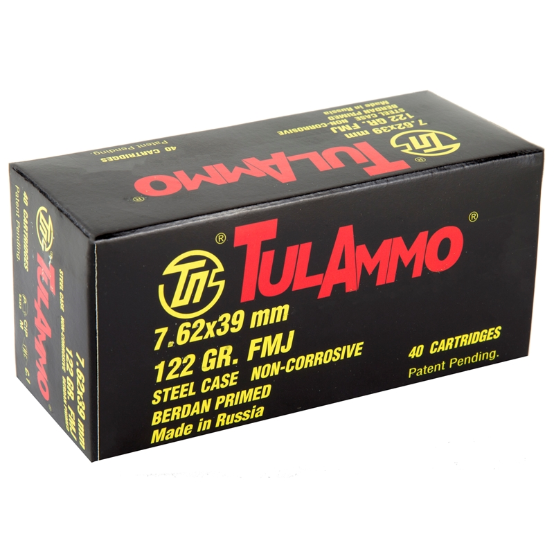 TulAmmo 7.62x39mm Ammo 122 Grain FMJ Steel Cased 40 Rounds