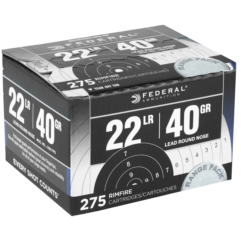Federal 22 Long Rifle 40 Grain LRN Range Pack 275 Rds