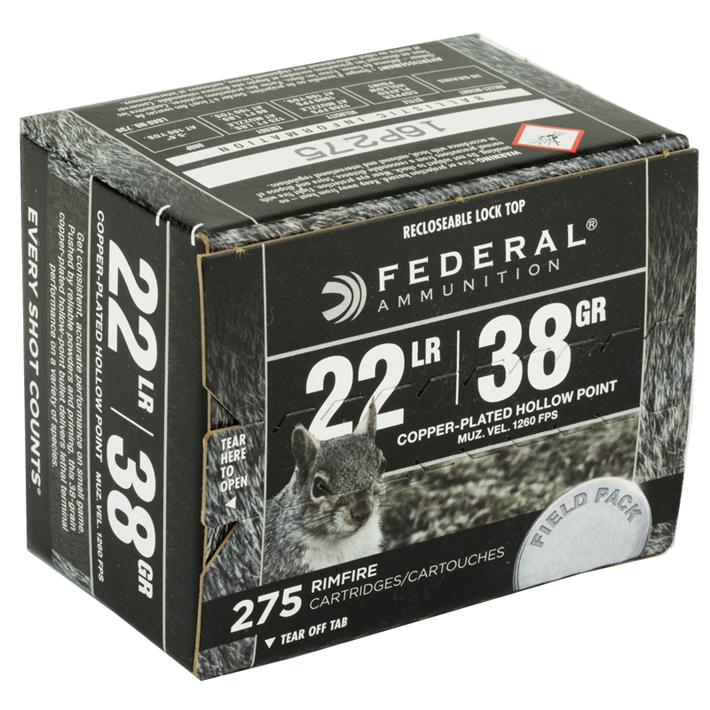 Federal 22 Long Rifle Ammo 38 Grain PLHP Field Pack