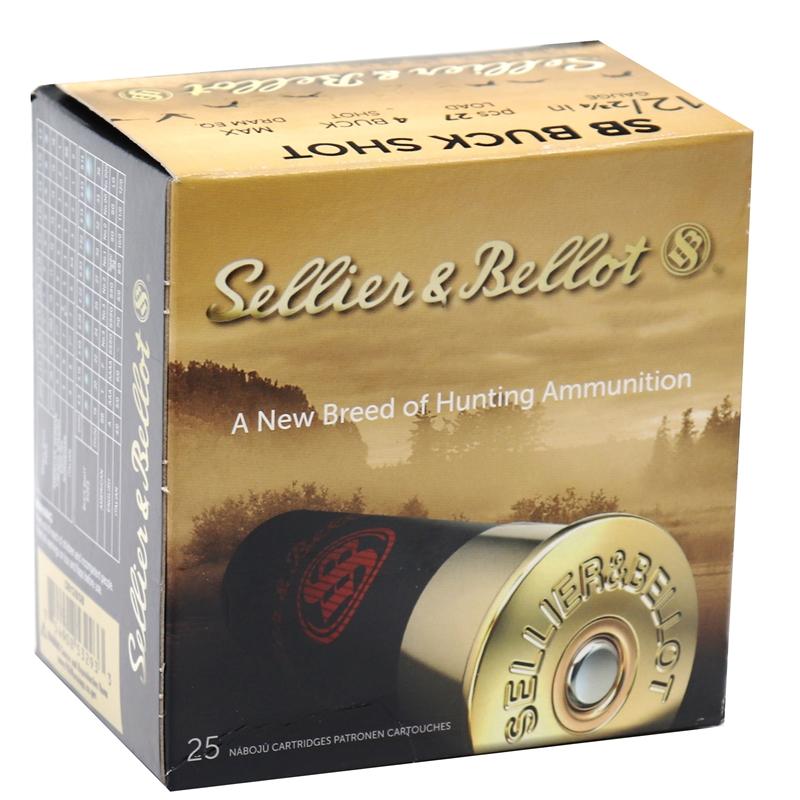 "Sellier & Bellot 12 Gauge Ammo 2-3/4"" 27 Pellets #4 Buckshot Max"