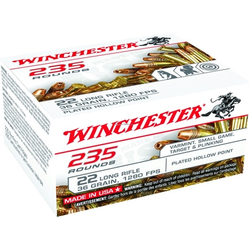 Winchester 22 Long Rifle 36 Gr Plated Lead Hollow Point 235 Round