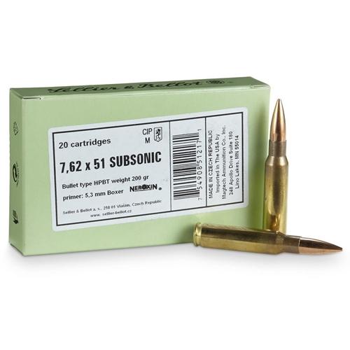 Sellier & Bellot 308 Winchester Subsonic Ammo 200 Gr HPBT