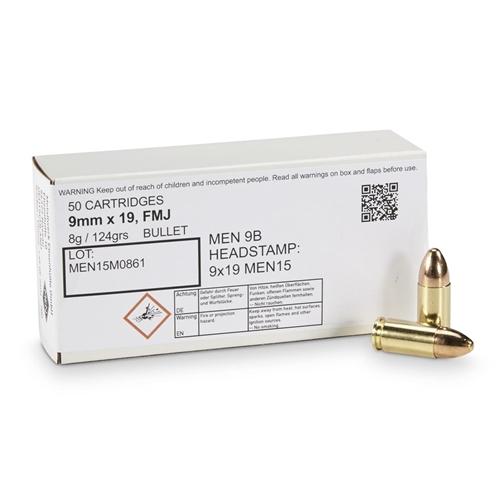 Magtech MEN 9mm Luger NATO Ammo 124 Grain Full Metal Jacket
