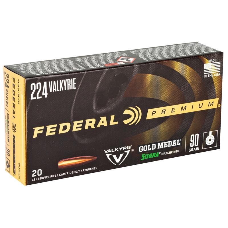 Federal Gold Medal 224 Valkyrie Ammo 90 Gr Sierra MatchKing