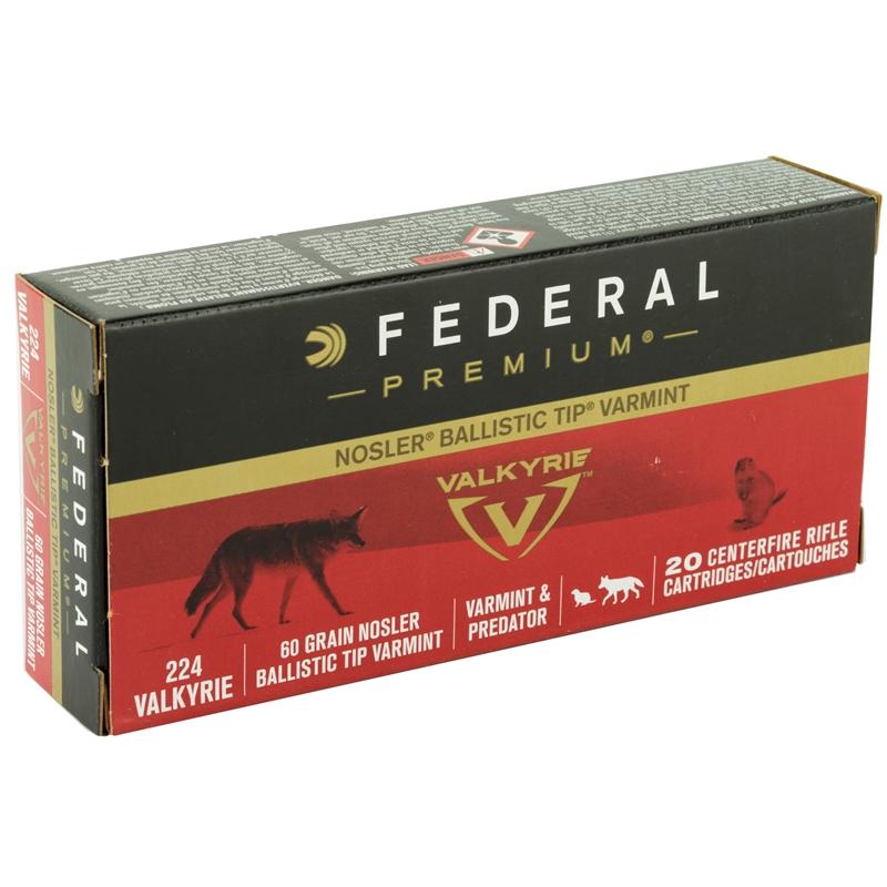 Federal Nosler 224 Valkyrie Ammo 60 Grain Nosler Ballistic Tip