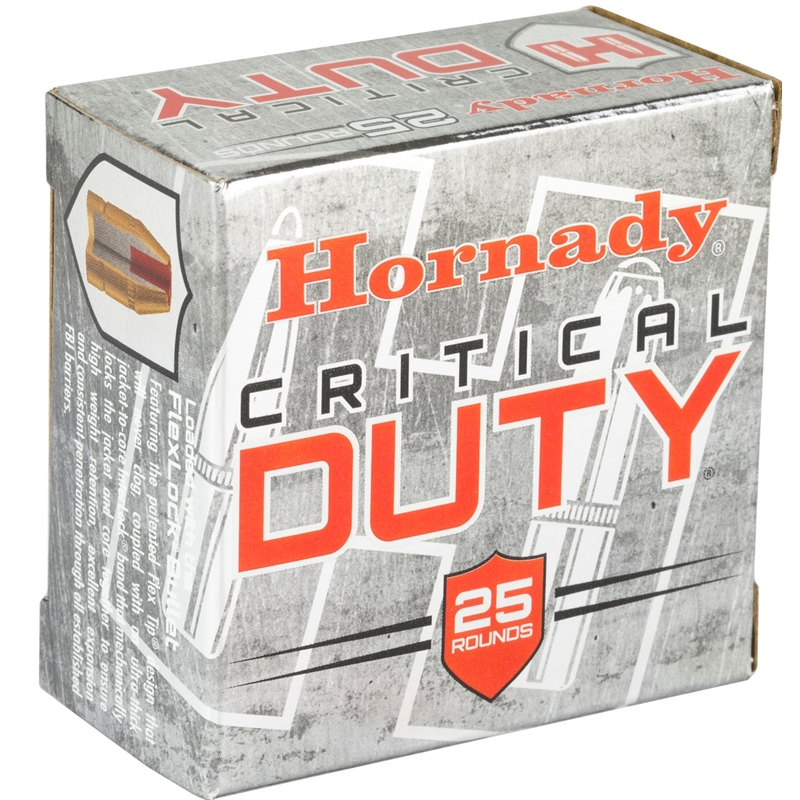Hornady Critical Duty 9mm Luger Ammo +P 124 Gr FlexLock
