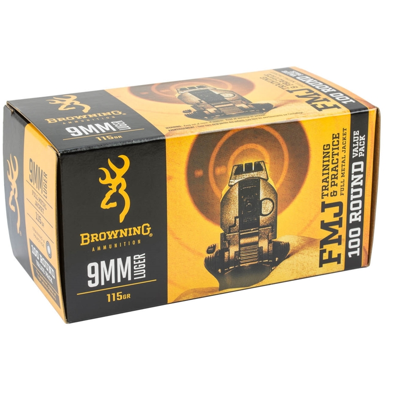 Browning 9mm Luger Ammo 115 Grain FMJ 100 Rounds Value Pack