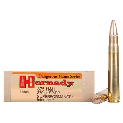 Hornady Dangerous Game Superformance 375 H&H Mag Ammo 270 Gr SPRP