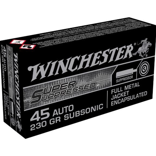 Winchester 45 ACP Auto Ammo 230 Gr FMJ Super Suppressed