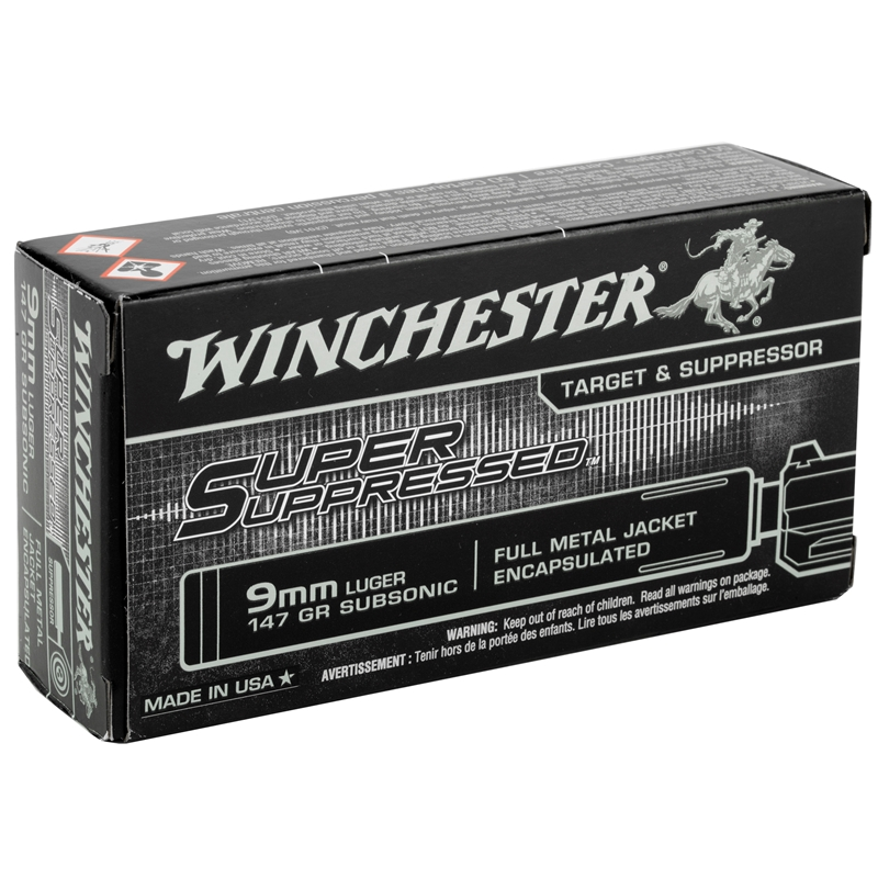 Winchester 9mm Luger Ammo 147 Gr FMJ Super Suppressed