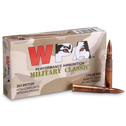 Wolf Military Classic 303 British Ammo 174 Grain FMJ Bi-Metal Case