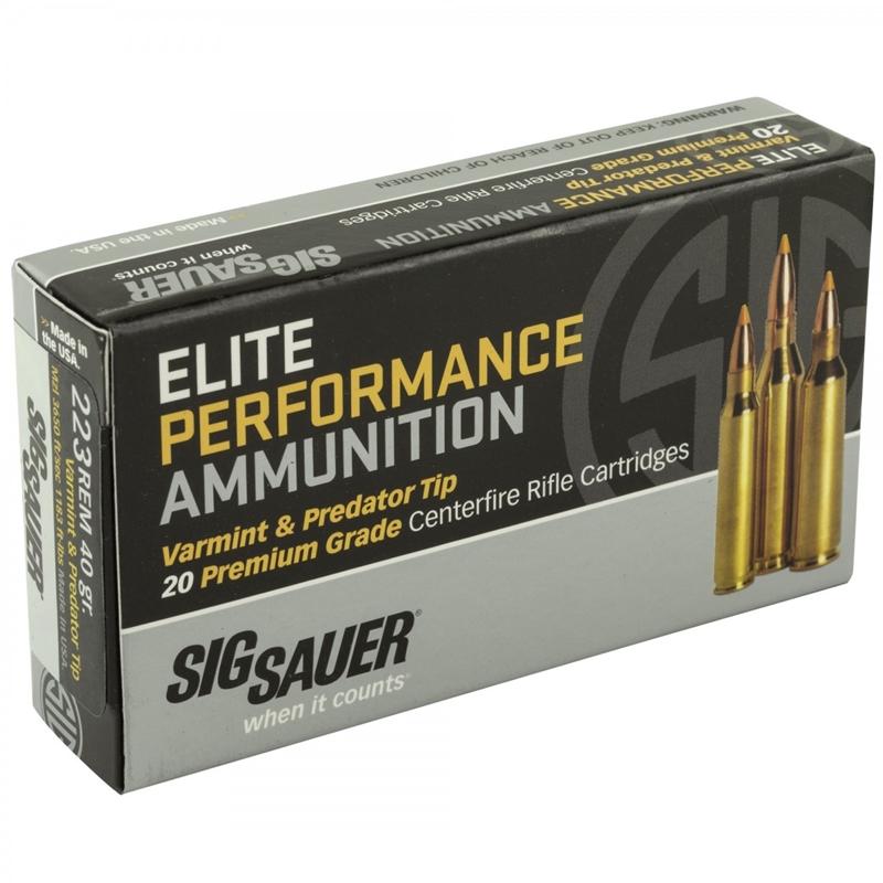 Sig Sauer Elite Performance Varmint and Predator 223 Remington Ammo 40 Grain Tipped Hollow Point