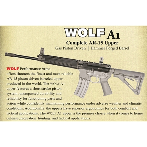 Wolf A1 223/5 56 AR-15 Complete Gas Piston Upper Receiver 12 5 Inch Barrel