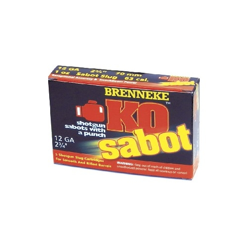 "Brenneke USA K.O. 12 Gauge Ammo 2-3/4"" 1 oz Sabot Slug"