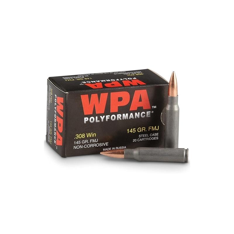 Wolf Polyformance 308 Win Ammo 145 Grain FMJ Steel Case