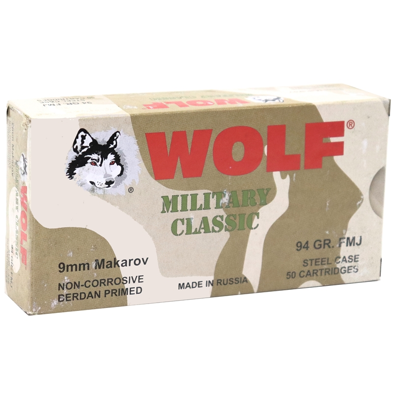 Wolf Military Classic 9x18mm Makarov Ammo 94 Grain FMJ Steel Case
