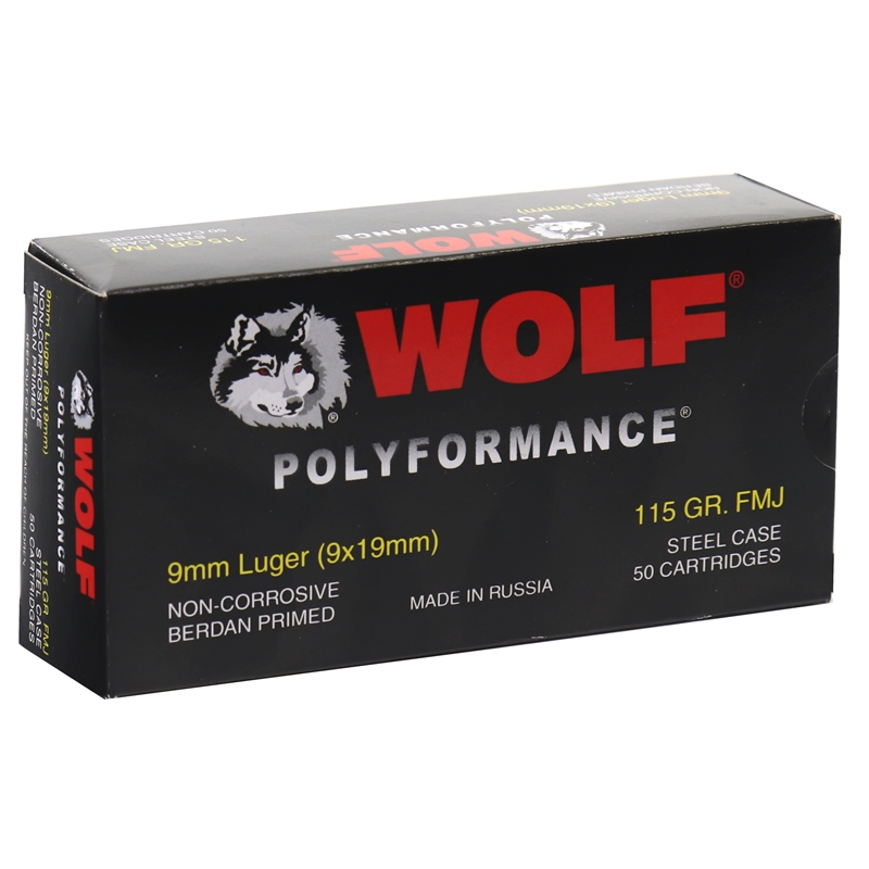 Wolf Polyformance 9mm Ammo 115 Grain FMJ Steel Case