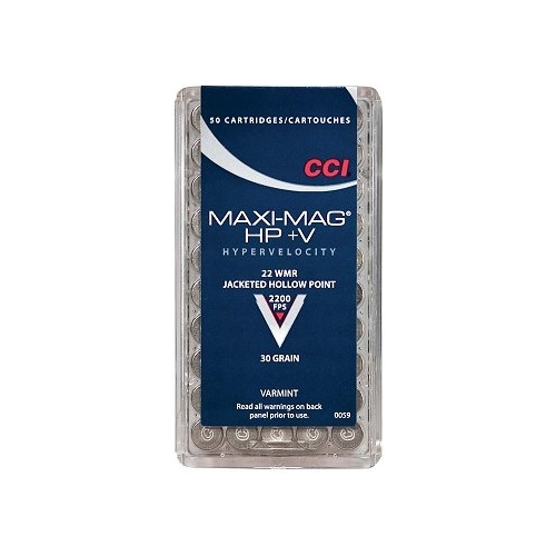 CCI Maxi-Mag 22 WMR Ammo 30 Grain +V Jacketed Hollow Point