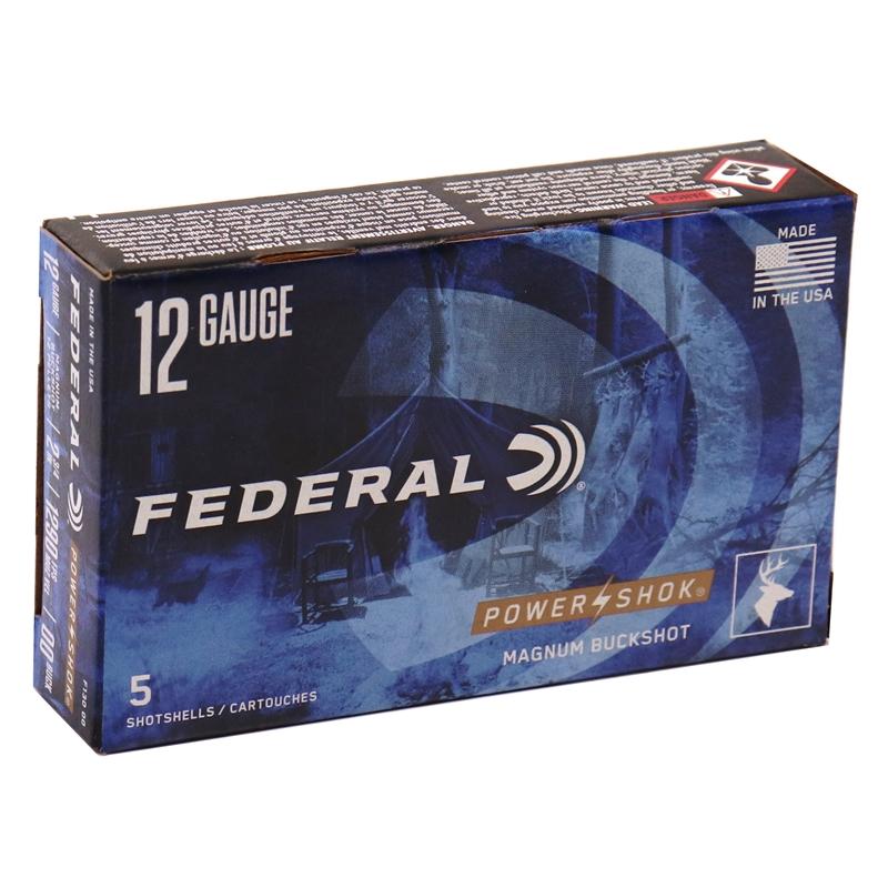 "Federal Power-Shok 12 Gauge Ammo 2-3/4"" 00 Buckshot 12 Pellets"