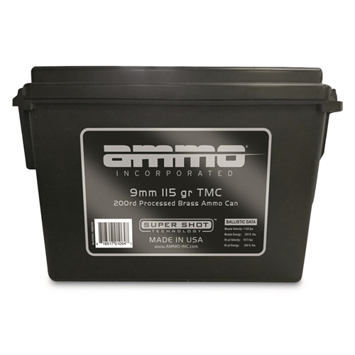 Ammo Inc 9mm Luger  Ammo 115 Gr FMJ 200 Rds in Ammo Can