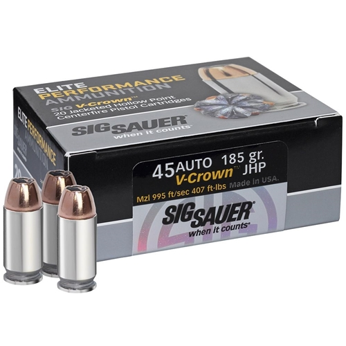 Sig Sauer 45 Auto V-Crown Ammo 185 Grain Jacketed Hollow Point