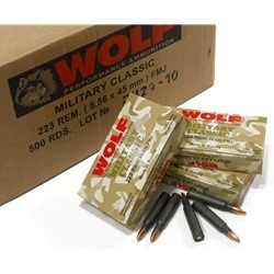 Wolf Military Classic 223 Remington Ammo 55 Grain FMJ Steel Case Bulk
