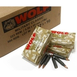 Wolf Military Classic 223 Remington Ammo 55 Grain JSP Steel Case Bulk