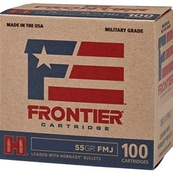 Frontier Cartridge Military Grade 223 Remington Ammo 55 Grain Hornady FMJ-BT 1000 Rounds Bulk
